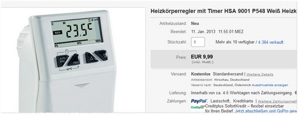 Heizkörperthermostat HSA 9001 P548