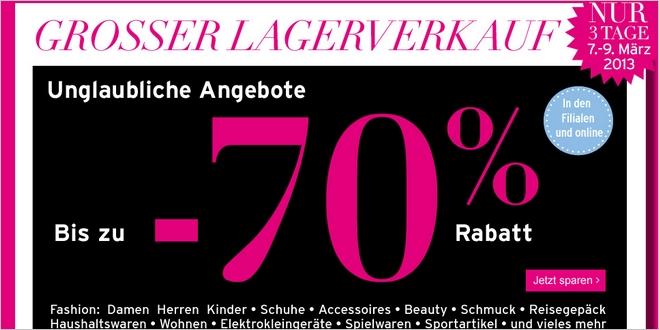 Karstadt Lagerverkauf vom 07.03.2013 bis 09.03.2013