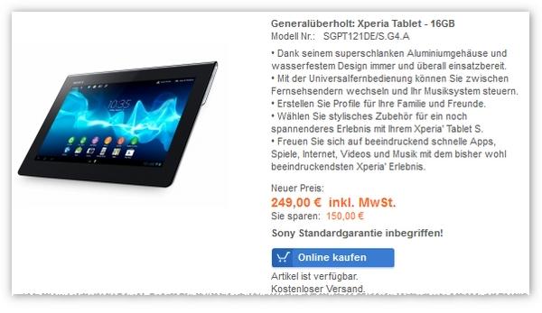 Schnell sein lohnt sich: Noch ist das Sony Tablet bestellbar (13.03.2013, 10:26 Uhr)