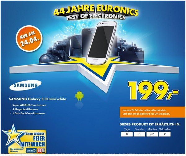 Samsung Galaxy S3 mini am 24.04.2013 bei Euronics