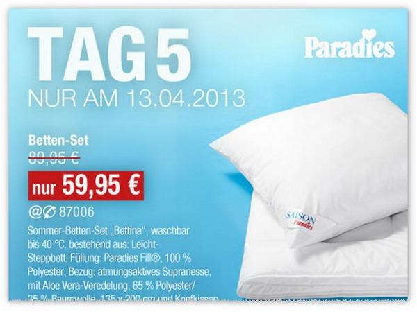 GALERIA Kaufhof 6 Tage Rennen Tagesangebot vom 13.04.2013 - Paradies Bett