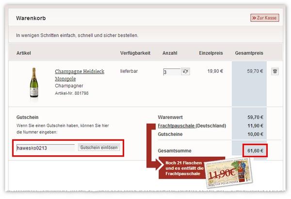 Champagner-Bestellung dank Haweko-Gutschein 10 € günstiger