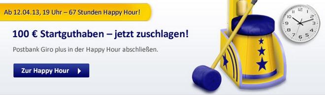 Postbank Happy Hour: 100 € Girokonto-Prämie