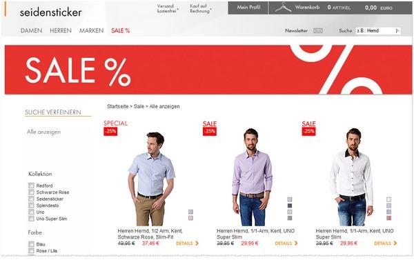 Seidensticker Sale mit 25% Rabatt