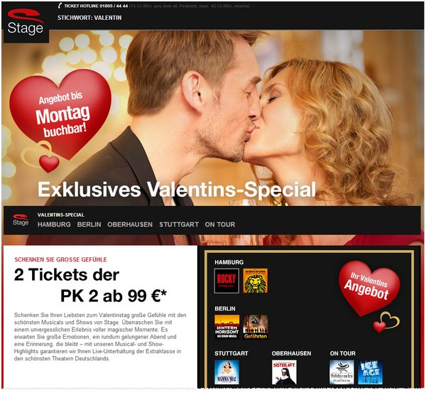 Stage Entertainment mit Valentins-Special
