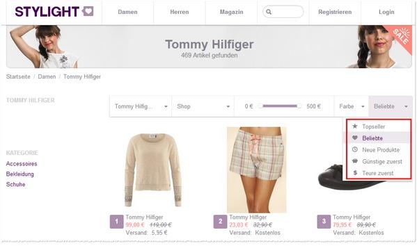 Beispielsuche im Stylight Outlet: Beliebte Damenmode von Tommy Hilfiger