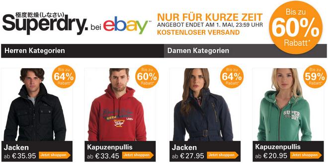 eBay: Superdry Mega Deal mit bis zu 60% Rabatt