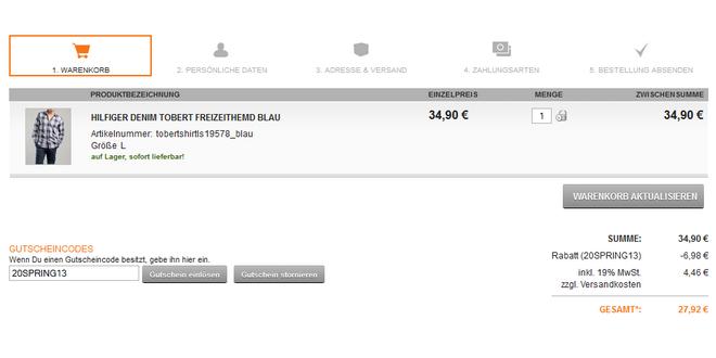 Trendfabrik-Gutschein: Zusätzlich 20% Rabatt auf den 70% Sale