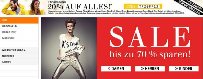 Trendfabrik Gutschein: 20% Extra-Rabatt auch auf Restposten (70% Sale)