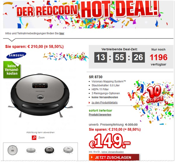 Samsung Navibot SR 8730 als Redcoon Hot Deal für 149 €