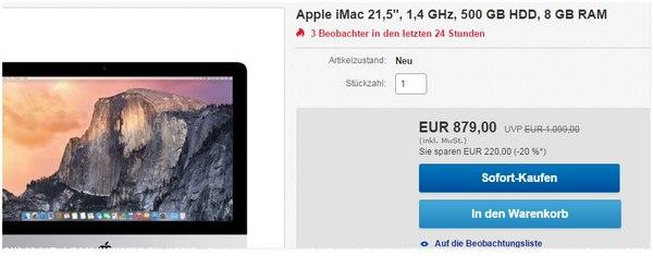 Apple iMac 21,5 Zoll im Gravis Outlet