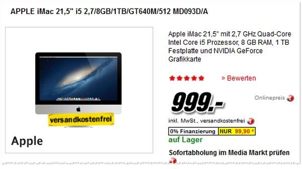 Apple iMac im Media Markt günstig