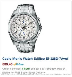 Casio Edifice Chronograph vor Abzug des 20%-Newsletter-Rabatts