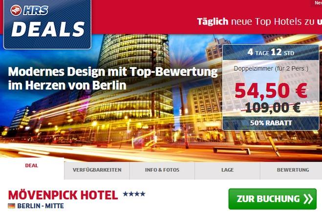 HRS Deals: Übernachtung im Mövenpick Hotel Berlin für 2 Personen nur 54,50 €