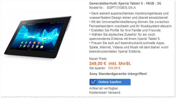 Der Preis-Beweis: Das Sony Xperia Tablet S ist im Sony Outlet verfügbar für 349 €