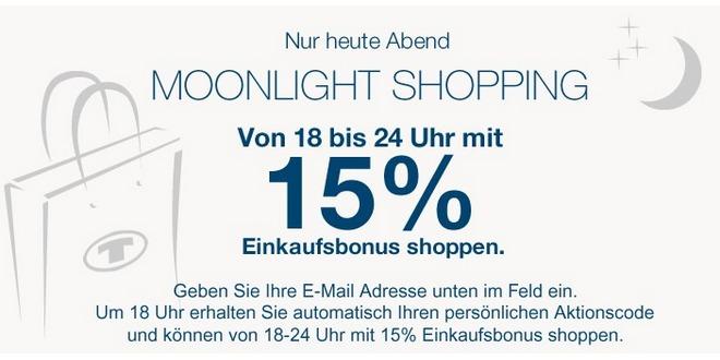 Tom Tailor Moonlight Shopping von 18 bis 24 Uhr mit 15%-Gutschein