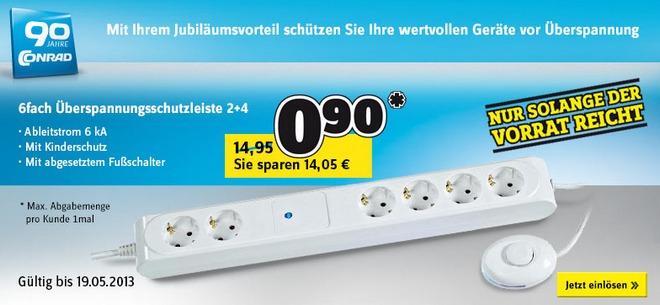 6-fach Überspannungsschutz-Steckdosenleiste mit Fußschalter für 0,90 € bei Conrad