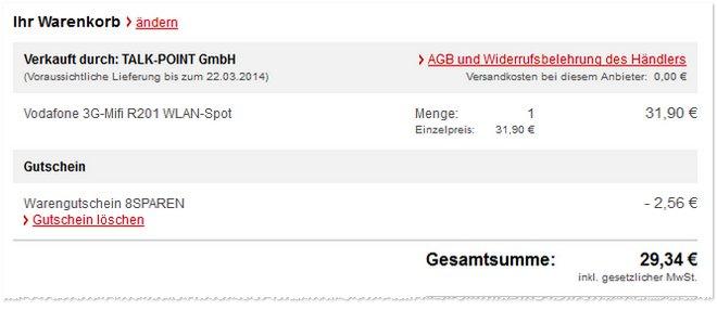 Vodafone 3G MiFi R201 Angebot