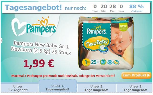 Das Baby-Markt.de Tagesangebot sind heute günstige Windeln von Pampers