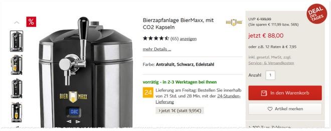 Angebot für die BierMaxx Bierzapfanlage