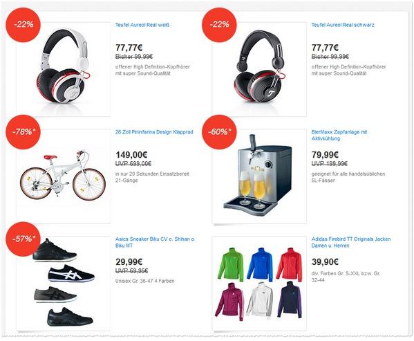 Die eBay Deals Festival Angebote vom 07.06.2013