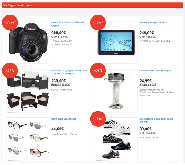 Die eBay Deals Festival Angebote vom 08.06.2013