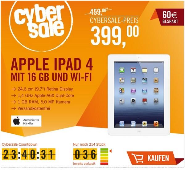 Apple iPad 4 günstiger im Cybersale von Cyberport