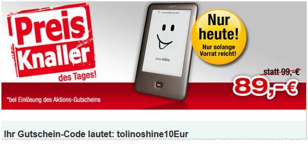 10 € Gutschein für den Tolino Shine bei Buecher.de