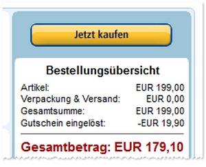 Rabattabzug beim Asus Fonepad: Die 10% werden erst im letzten Bestellschritt abgezogen (bei Kauf über Amazon.de)