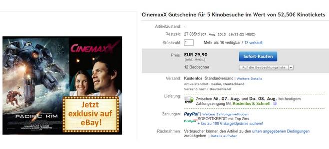 Cinemaxx Kino-Gutscheine von Dailydeal