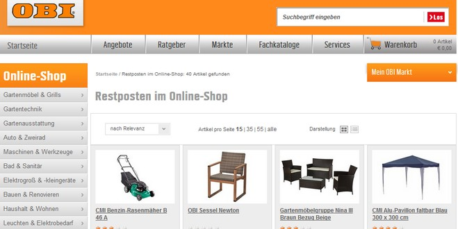 obi restposten verkauf im online shop. Black Bedroom Furniture Sets. Home Design Ideas