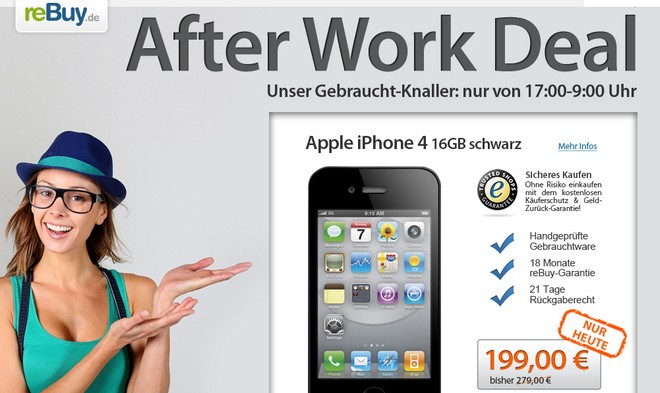 reBuy.de After-Work-Deal mit Apple iPhone 4