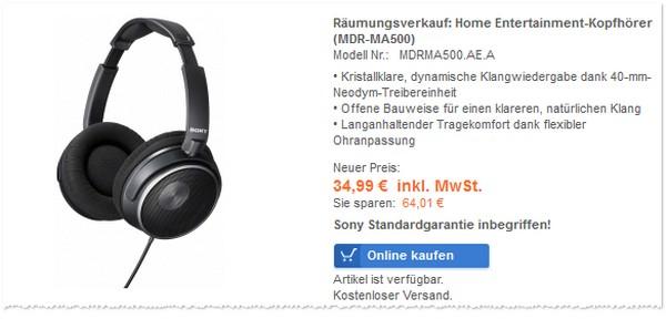 Sony Outlet Räumungsverkauf mit Kopfhörer