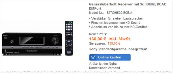 Sony Receiver im Warenkorb