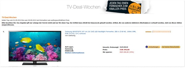 Amazon TV Deal Wochen