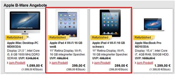 Apple iPad 4 ohne Vertrag als B-Ware