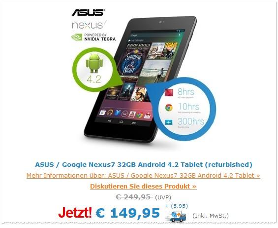 Asus Nexus 7 16 GB generalüberholt