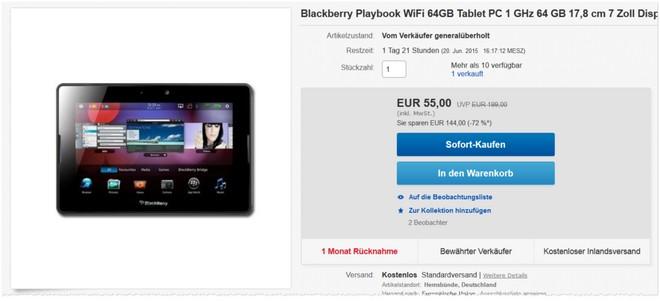 BlackBerry PlayBook als B-Ware