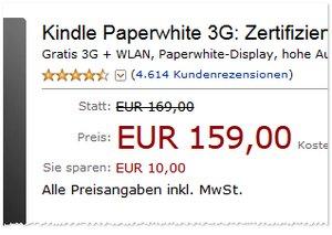 Kindle Paperwhite 3G generalüberholt günstiger für 159 € statt 169 €