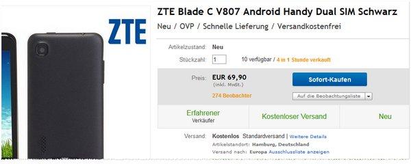 ZTE Blade C V807 ohne Vertrag