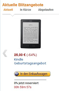 Amazon Kindle Blitzangebot für 25 €