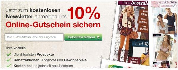 GALERIA Kaufhof Aktionscode für Newsletter-Anmeldung