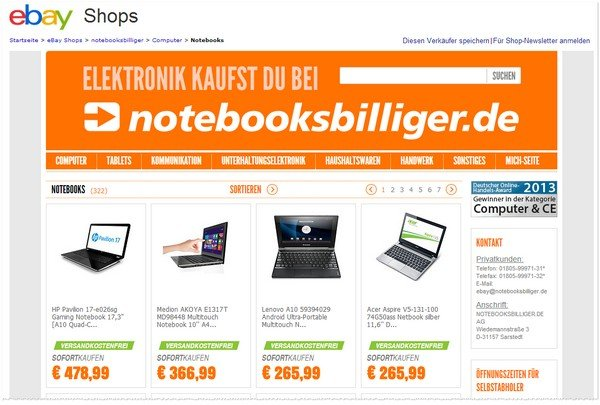 Notebooksbilliger Outlet bei eBay