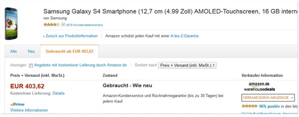 Samsung Galaxy S4 als B-Ware bei den Amazon Warehousedeals