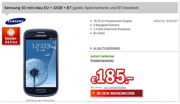 Samsung S3 mini ohne Vertrag bei Redcoon