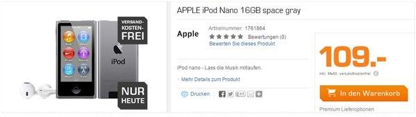 Apple iPod nano 16 GB bei Saturn für 109 €