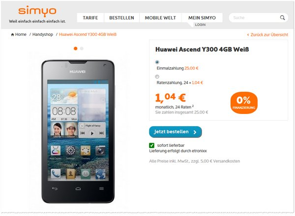 Huawei Ascend Y300 ohne Vertrag