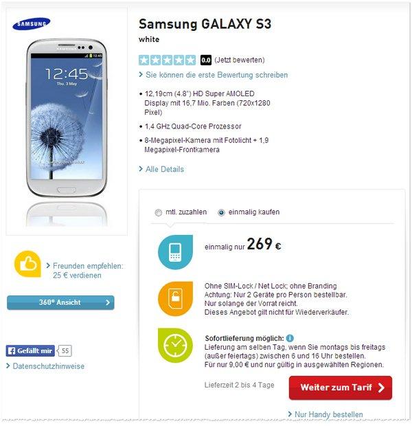 Samsung Galaxy S3 ohne Vertrag als BASE-Angebot