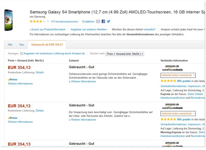 Samsung Galaxy S4 Amazon Warehousedeals