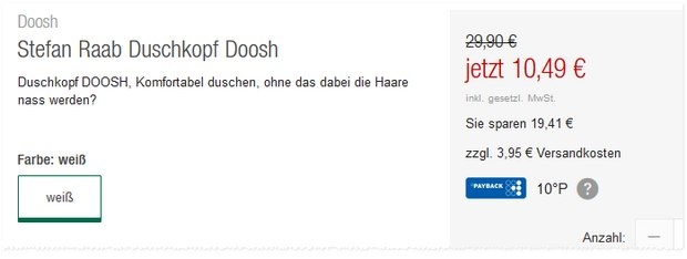 Stefan Raab Duschkopf Doosh im Abverkauf bei GALERIA Kaufhof (Sale)?